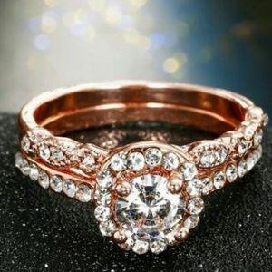 Jewelry - Vintage Round Halo Milgrain 18K Rose Gold Ring Set